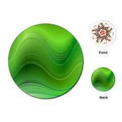 Green Wave Background Abstract Playing Cards (round)
