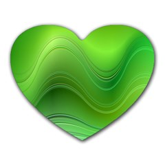 Green Wave Background Abstract Heart Mousepads