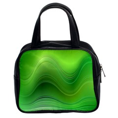 Green Wave Background Abstract Classic Handbags (2 Sides)