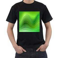 Green Wave Background Abstract Men s T Shirt (black)