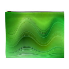 Green Wave Background Abstract Cosmetic Bag (xl)