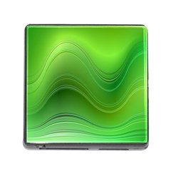Green Wave Background Abstract Memory Card Reader (square)