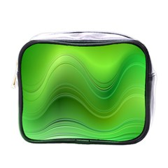 Green Wave Background Abstract Mini Toiletries Bags