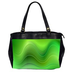 Green Wave Background Abstract Office Handbags (2 Sides)