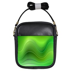 Green Wave Background Abstract Girls Sling Bags