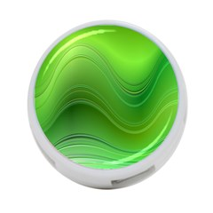 Green Wave Background Abstract 4 Port Usb Hub (two Sides)
