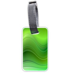 Green Wave Background Abstract Luggage Tags (two Sides)