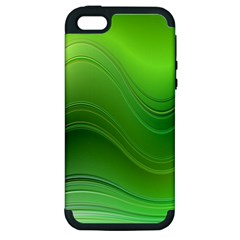 Green Wave Background Abstract Apple Iphone 5 Hardshell Case (pc+silicone)