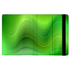 Green Wave Background Abstract Apple Ipad 2 Flip Case