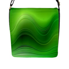 Green Wave Background Abstract Flap Messenger Bag (l)