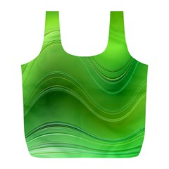 Green Wave Background Abstract Full Print Recycle Bags (l)