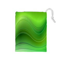 Green Wave Background Abstract Drawstring Pouches (medium)
