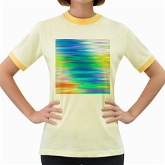 Wave Rainbow Bright Texture Women s Fitted Ringer T Shirts