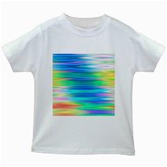 Wave Rainbow Bright Texture Kids White T Shirts