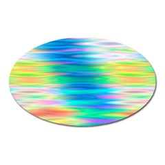 Wave Rainbow Bright Texture Oval Magnet