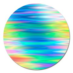 Wave Rainbow Bright Texture Magnet 5  (round)