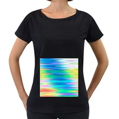 Wave Rainbow Bright Texture Women s Loose Fit T Shirt (black)