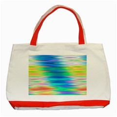 Wave Rainbow Bright Texture Classic Tote Bag (red)