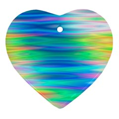 Wave Rainbow Bright Texture Heart Ornament (two Sides)