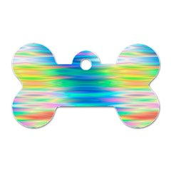 Wave Rainbow Bright Texture Dog Tag Bone (one Side)
