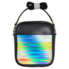 Wave Rainbow Bright Texture Girls Sling Bags