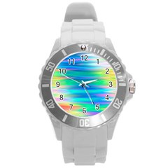 Wave Rainbow Bright Texture Round Plastic Sport Watch (l)
