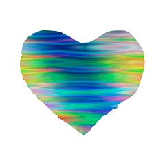 Wave Rainbow Bright Texture Standard 16  Premium Flano Heart Shape Cushions