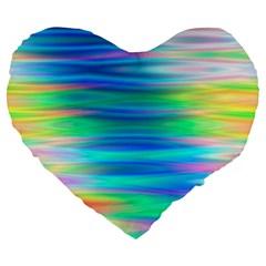 Wave Rainbow Bright Texture Large 19  Premium Flano Heart Shape Cushions
