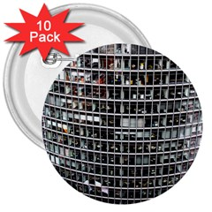 Skyscraper Glass Facade Offices 3  Buttons (10 Pack)
