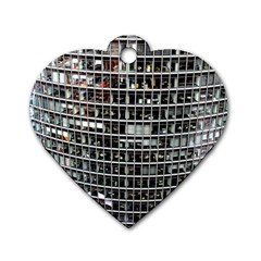 Skyscraper Glass Facade Offices Dog Tag Heart (two Sides)