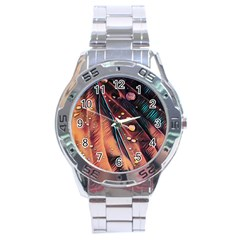 Abstract Wallpaper Images Stainless Steel Analogue Watch