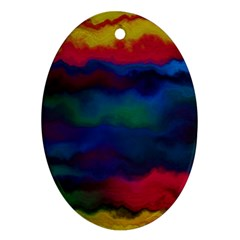 Watercolour Color Background Oval Ornament (two Sides)
