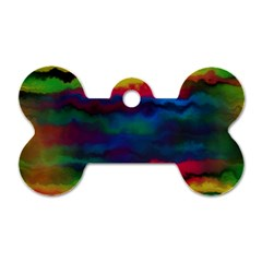 Watercolour Color Background Dog Tag Bone (two Sides)