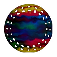 Watercolour Color Background Round Filigree Ornament (two Sides)