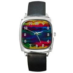 Watercolour Color Background Square Metal Watch