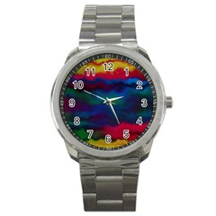 Watercolour Color Background Sport Metal Watch