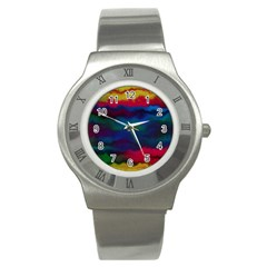 Watercolour Color Background Stainless Steel Watch