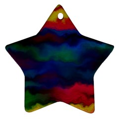 Watercolour Color Background Star Ornament (two Sides)