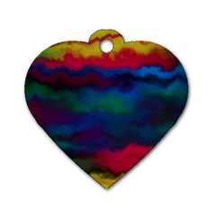 Watercolour Color Background Dog Tag Heart (one Side)