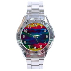 Watercolour Color Background Stainless Steel Analogue Watch