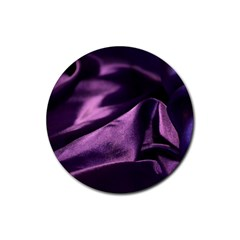 Shiny Purple Silk Royalty Rubber Round Coaster (4 Pack)