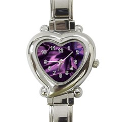 Shiny Purple Silk Royalty Heart Italian Charm Watch
