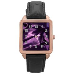 Shiny Purple Silk Royalty Rose Gold Leather Watch