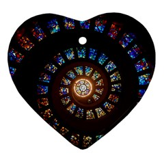 Stained Glass Spiral Circle Pattern Ornament (heart)