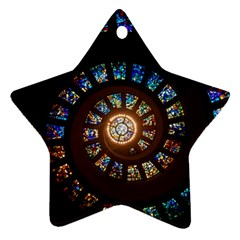 Stained Glass Spiral Circle Pattern Ornament (star)