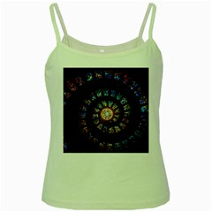 Stained Glass Spiral Circle Pattern Green Spaghetti Tank