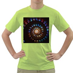 Stained Glass Spiral Circle Pattern Green T Shirt