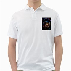 Stained Glass Spiral Circle Pattern Golf Shirts