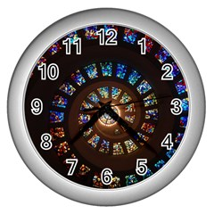 Stained Glass Spiral Circle Pattern Wall Clocks (silver)