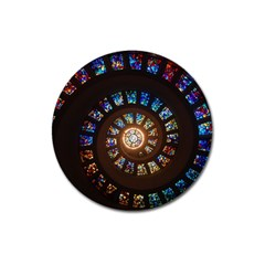 Stained Glass Spiral Circle Pattern Magnet 3  (round)